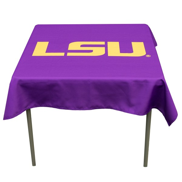 Louisiana State LSU Tigers Table Cloth measures 48 x 48 inches, is made of 100% Polyester, seamless one-piece construction, and is perfect for any tailgating table, card table, or wedding table overlay. Each includes Officially Licensed Logos and Insignias.