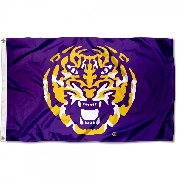 Louisiana State LSU Tigers Tiger Head Flag measures 3x5 feet, is made of 100% polyester, offers quadruple stitched flyends, has two metal grommets, and offers screen printed NCAA team logos and insignias. Our Louisiana State LSU Tigers Tiger Head Flag is officially licensed by the selected university and NCAA.