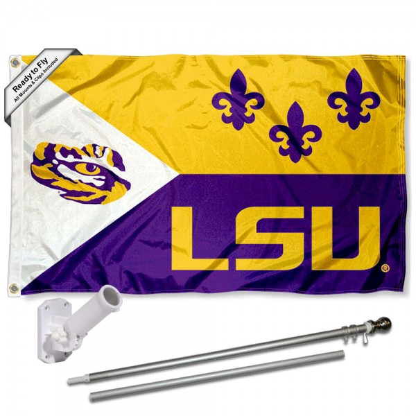 Our Louisiana State Tigers Acadian Flag Pole and Bracket Kit includes the flag as shown and the recommended flagpole and flag bracket. The flag is made of polyester, has quad-stitched flyends, and the NCAA Licensed team logos are double sided screen printed. The flagpole and bracket are made of rust proof aluminum and includes all hardware so this kit is ready to install and fly.