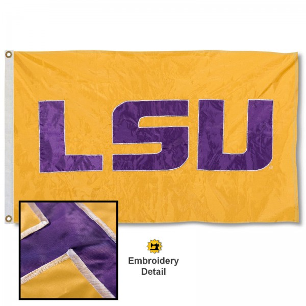 Louisiana State Tigers Nylon Embroidered Flag measures 3'x5', is made of 100% nylon, has quadruple flyends, two metal grommets, and has double sided appliqued and embroidered University logos. These Louisiana State Tigers 3x5 Flags are officially licensed by the selected university and the NCAA.