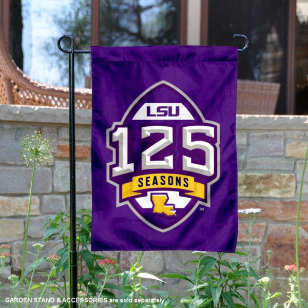 Louisiana State University 125 Seasons Garden Flag is 13x18 inches in size, is made of 2-layer polyester, screen printed university athletic logos and lettering, and is readable and viewable correctly on both sides. Available same day shipping, our Louisiana State University 125 Seasons Garden Flag is officially licensed and approved by the university and the NCAA.