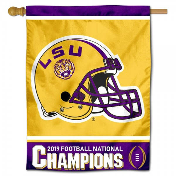 """Louisiana State University 2019 Football National Champions Banner Flag is constructed of polyester material, is a vertical house flag, measures 30""""x40"""", offers screen printed athletic insignias, and has a top pole sleeve to hang vertically. Our Louisiana State University 2019 Football National Champions Banner Flag is Officially Licensed by Louisiana State University and NCAA."""