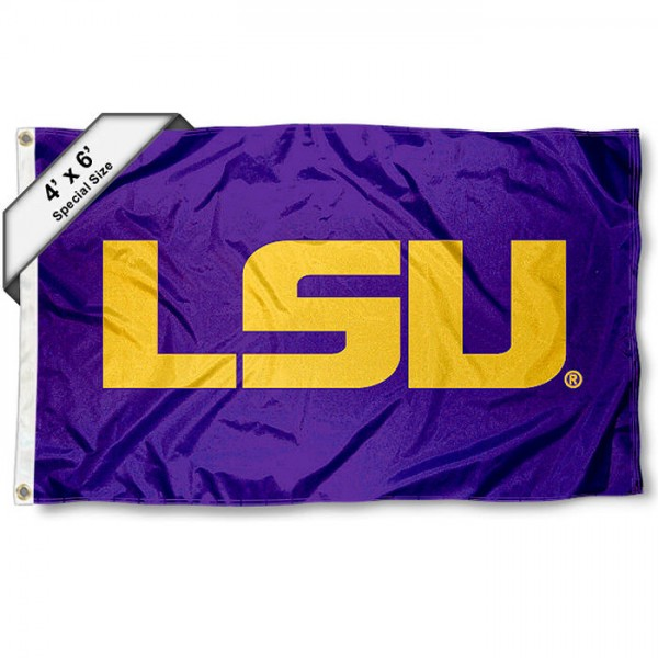 Louisiana State University 4x6 Flag measures 4x6 feet, is made thick woven polyester, has quadruple stitched flyends, two metal grommets, and offers screen printed NCAA Louisiana State University athletic logos and insignias. Our Louisiana State University 4x6 Flag is officially licensed by Louisiana State University and the NCAA.