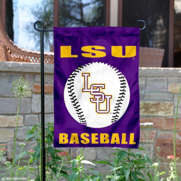 Louisiana State University Baseball Garden Flag is 13x18 inches in size, is made of 2-layer polyester, screen printed Louisiana State University Baseball athletic logos and lettering. Available with Same Day Express Shipping, Our Louisiana State University Baseball Garden Flag is officially licensed and approved by Louisiana State University Baseball and the NCAA.