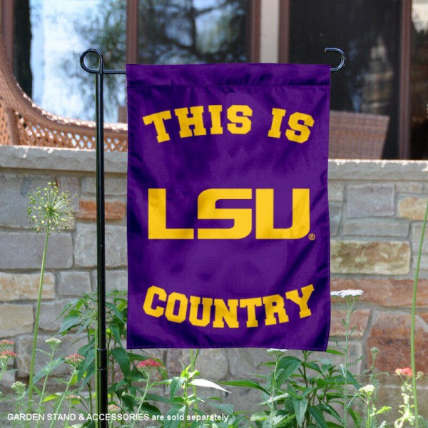 Louisiana State University Country Garden Flag is 13x18 inches in size, is made of 2-layer polyester, screen printed university athletic logos and lettering, and is readable and viewable correctly on both sides. Available same day shipping, our Louisiana State University Country Garden Flag is officially licensed and approved by the university and the NCAA.