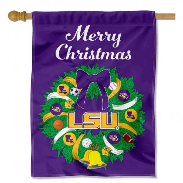 Louisiana State University Holiday Flag is a decorative house flag, 30x40 inches, made of 100% polyester, Holiday NCAA team insignias, and has a top pole sleeve to hang vertically. Our Louisiana State University Holiday Flag is officially licensed by the selected university and the NCAA.