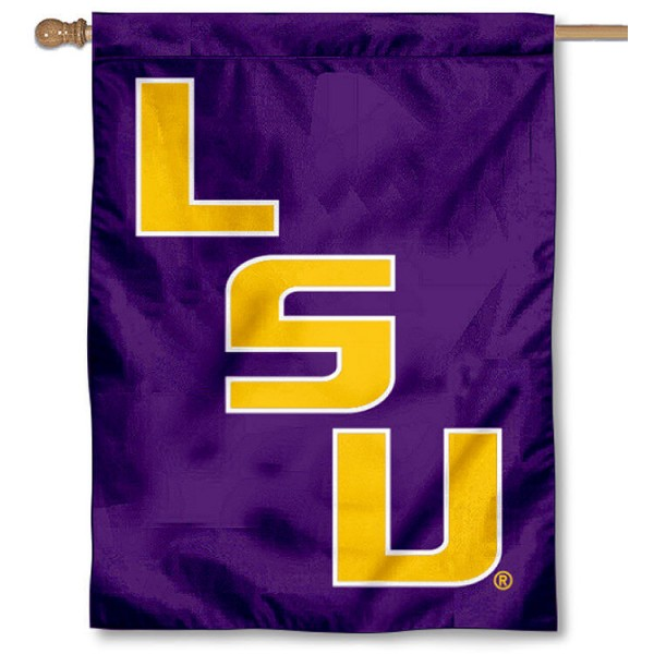 Louisiana State University House Flag is a vertical house flag which measures 30x40 inches, is made of 2 ply 100% polyester, offers dye sublimated NCAA team insignias, and has a top pole sleeve to hang vertically. Our Louisiana State University House Flag is officially licensed by the selected university and the NCAA