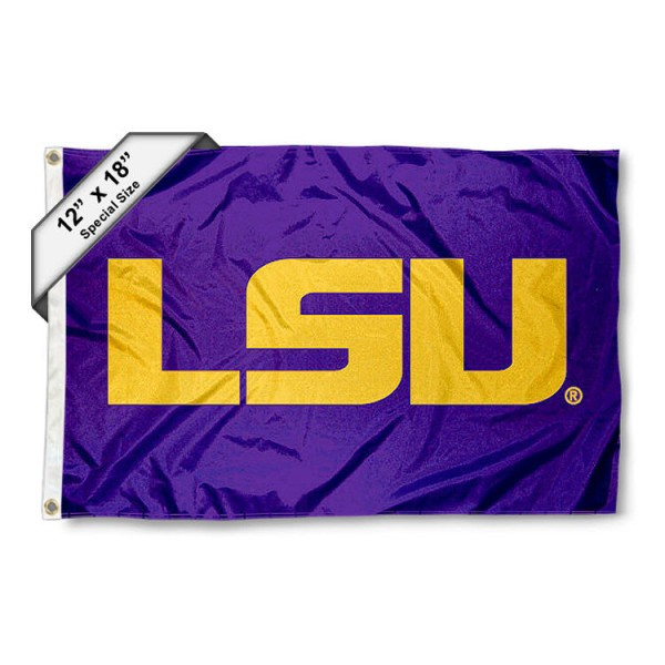 Louisiana State University Mini Flag is 12x18 inches, polyester, offers quadruple stitched flyends for durability, has two metal grommets, and is double sided. Our mini flags for Louisiana State University are licensed by the university and NCAA and can be used as a boat flag, motorcycle flag, golf cart flag, or ATV flag