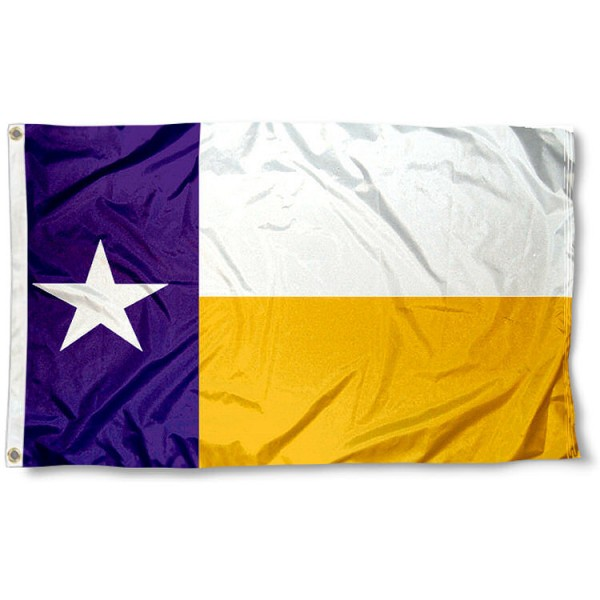 Louisiana State University Texas State Flag measures 3'x5', is made of 100% poly, has quadruple stitched sewing, two metal grommets, and has double sided Louisiana State University logos. Our Louisiana State University Texas State Flag is officially licensed by the selected university and the NCAA
