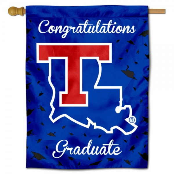 Louisiana Tech Bulldogs Congratulations Graduate Flag measures 30x40 inches, is made of poly, has a top hanging sleeve, and offers dye sublimated Louisiana Tech Bulldogs logos. This Decorative Louisiana Tech Bulldogs Congratulations Graduate House Flag is officially licensed by the NCAA.