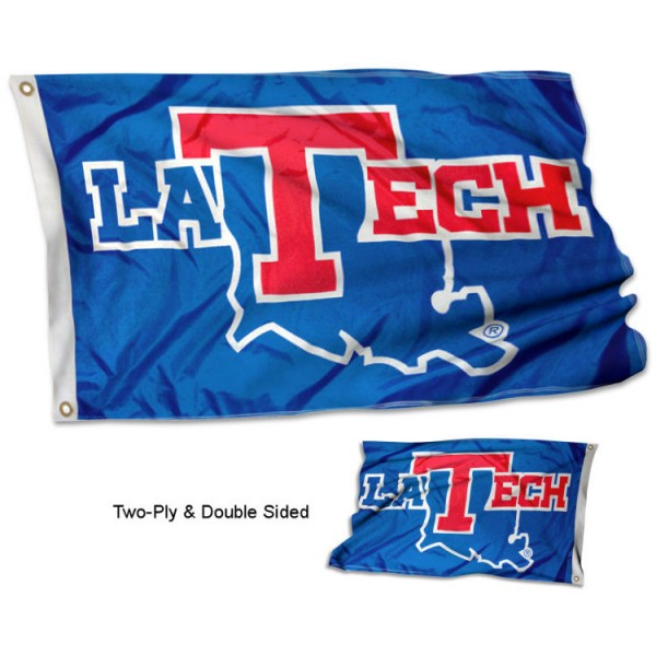 Louisiana Tech Bulldogs Double Sided Flag measures 3'x5', is made of 2 layer 100% polyester, has quadruple stitched flyends for durability, and is readable correctly on both sides. Our Louisiana Tech Bulldogs Double Sided Flag is officially licensed by the university, school, and the NCAA.
