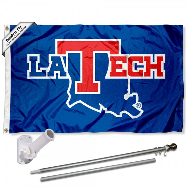 Our Louisiana Tech Bulldogs Flag Pole and Bracket Kit includes the flag as shown and the recommended flagpole and flag bracket. The flag is made of polyester, has quad-stitched flyends, and the NCAA Licensed team logos are double sided screen printed. The flagpole and bracket are made of rust proof aluminum and includes all hardware so this kit is ready to install and fly.