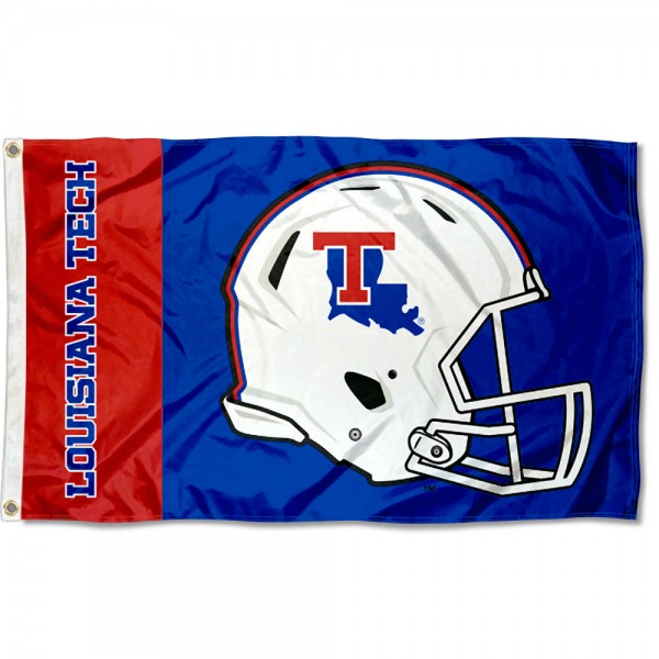 Louisiana Tech Bulldogs Football Helmet Flag measures 3x5 feet, is made of 100% polyester, offers quadruple stitched flyends, has two metal grommets, and offers screen printed NCAA team logos and insignias. Our Louisiana Tech Bulldogs Football Helmet Flag is officially licensed by the selected university and NCAA.