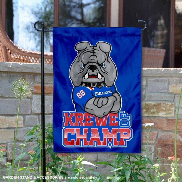 Louisiana Tech Bulldogs Krewe of Champ Garden Flag is 13x18 inches in size, is made of 2-layer polyester, screen printed university athletic logos and lettering, and is readable and viewable correctly on both sides. Available same day shipping, our Louisiana Tech Bulldogs Krewe of Champ Garden Flag is officially licensed and approved by the university and the NCAA.