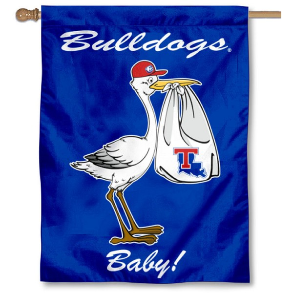 Louisiana Tech Bulldogs New Baby Flag measures 30x40 inches, is made of poly, has a top hanging sleeve, and offers dye sublimated Louisiana Tech Bulldogs logos. This Decorative Louisiana Tech Bulldogs New Baby House Flag is officially licensed by the NCAA.