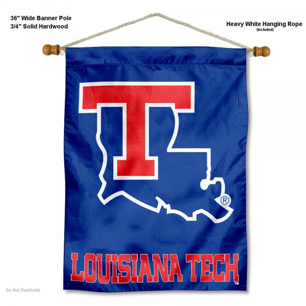 "Louisiana Tech Bulldogs Wall Banner is constructed of polyester material, measures a large 30""x40"", offers screen printed athletic logos, and includes a sturdy 3/4"" diameter and 36"" wide banner pole and hanging cord. Our Louisiana Tech Bulldogs Wall Banner is Officially Licensed by the selected college and NCAA."