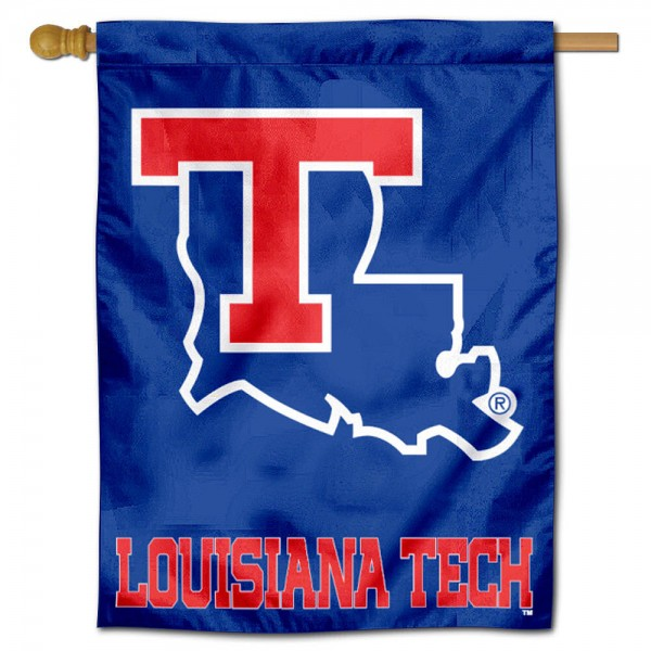 "Louisiana Tech University Decorative Flag is constructed of polyester material, is a vertical house flag, measures 30""x40"", offers screen printed athletic insignias, and has a top pole sleeve to hang vertically. Our Louisiana Tech University Decorative Flag is Officially Licensed by Louisiana Tech University and NCAA."