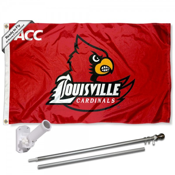 Our Louisville Cardinals ACC Flag Pole and Bracket Kit includes the flag as shown and the recommended flagpole and flag bracket. The flag is made of polyester, has quad-stitched flyends, and the NCAA Licensed team logos are double sided screen printed. The flagpole and bracket are made of rust proof aluminum and includes all hardware so this kit is ready to install and fly.