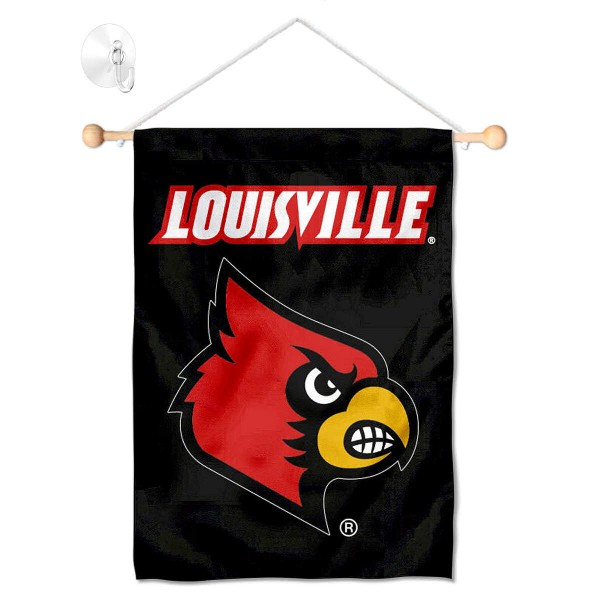 """Louisville Cardinals Banner with Suction Cup kit includes our 13""""x18"""" garden banner which is made of 2 ply poly with liner and has screen printed licensed logos. Also, a 17"""" wide banner pole with suction cup is included so your Louisville Cardinals Banner with Suction Cup is ready to be displayed with no tools needed for setup. Fast Overnight Shipping is offered and the flag is Officially Licensed and Approved by the selected team."""