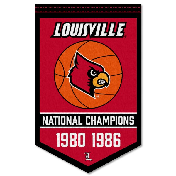 Louisville Cardinals Basketball National Champions Banner consists of our sports dynasty year banner which measures 15x24 inches, is constructed of rigid felt, is single sided imprinted, and offers a pennant sleeve for insertion of a pennant stick, if desired. This sports banner is a unique collectible and keepsake of the legacy game and is Officially Licensed and University, School, and College Approved.