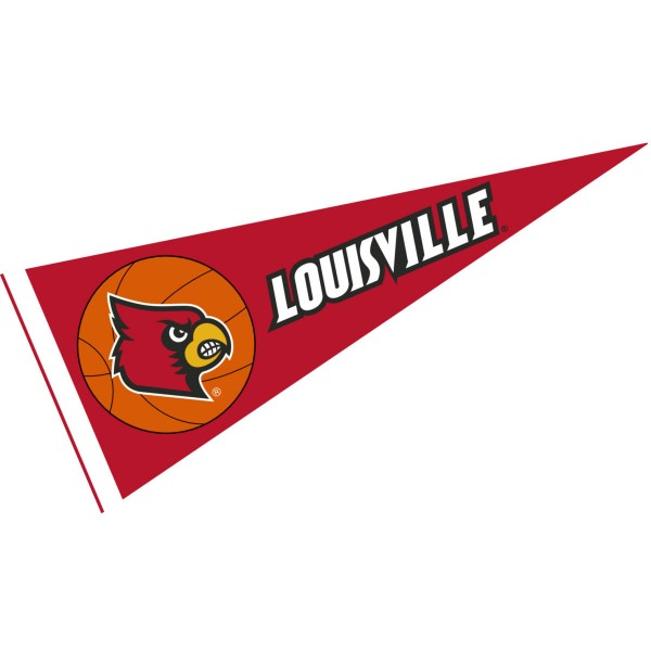 Louisville Cardinals Basketball Pennant consists of our full size sports pennant which measures 12x30 inches, is constructed of felt, is single sided imprinted, and offers a pennant sleeve for insertion of a pennant stick, if desired. This Louisville Cardinals Pennant Decorations is Officially Licensed by the selected university and the NCAA.