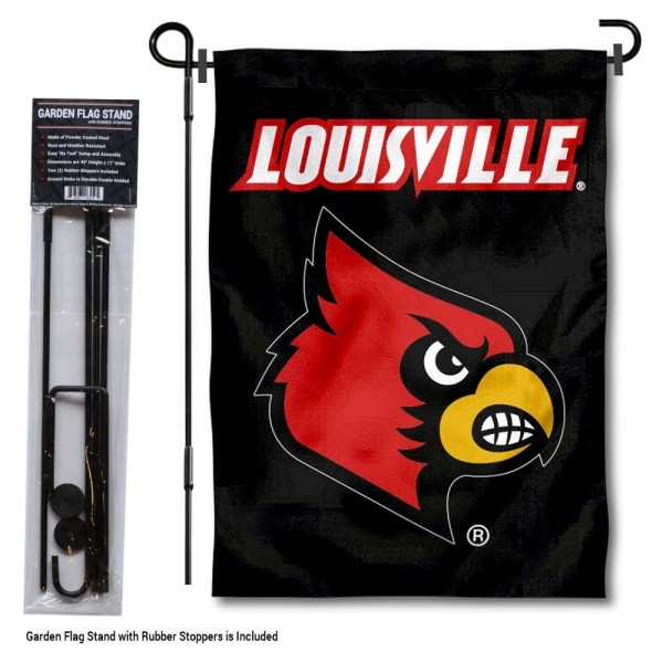 "Louisville Cardinals Black Garden Flag and Pole Stand kit includes our 13""x18"" garden banner which is made of 2 ply poly with liner and has screen printed licensed logos. Also, a 40""x17"" inch garden flag stand is included so your Louisville Cardinals Black Garden Flag and Pole Stand is ready to be displayed with no tools needed for setup. Fast Overnight Shipping is offered and the flag is Officially Licensed and Approved by the selected team."