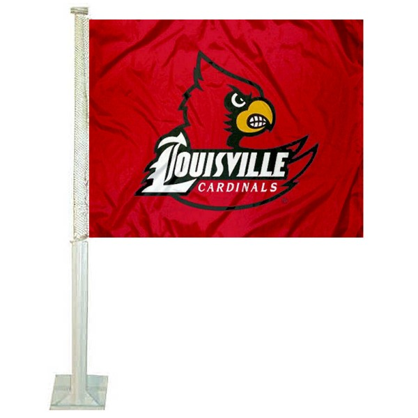 Louisville Cardinals Car Window Flag measures 12x15 inches, is constructed of sturdy 2 ply polyester, and has screen printed school logos which are readable and viewable correctly on both sides. Louisville Cardinals Car Window Flag is officially licensed by the NCAA and selected university.