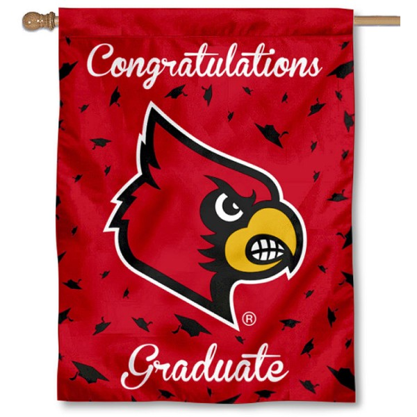 Louisville Cardinals Congratulations Graduate Flag measures 30x40 inches, is made of poly, has a top hanging sleeve, and offers dye sublimated Louisville Cardinals logos. This Decorative Louisville Cardinals Congratulations Graduate House Flag is officially licensed by the NCAA.