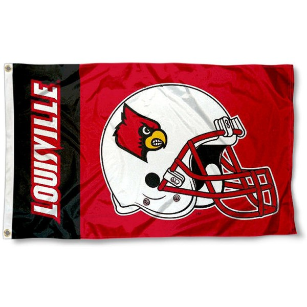 Louisville Cardinals Football Flag measures 3'x5', is made of 100% poly, has quadruple stitched sewing, two metal grommets, and has double sided Louisville Cardinals logos. Our Louisville Cardinals Football Flag is officially licensed by the selected university and the NCAA.