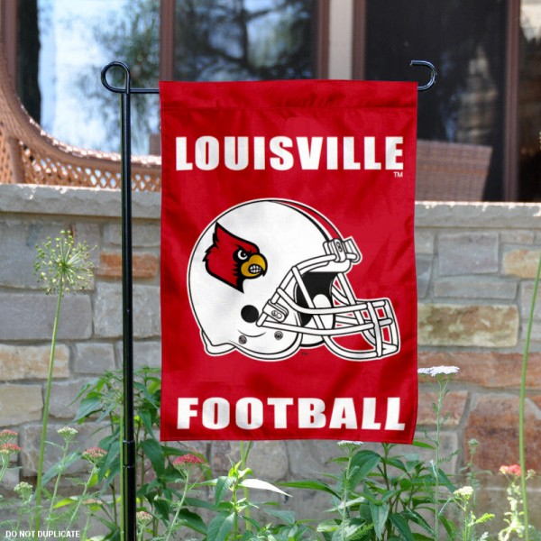 Louisville Cardinals Football Helmet Garden Banner is 13x18 inches in size, is made of 2-layer polyester, screen printed University of Louisville athletic logos and lettering. Available with Same Day Express Shipping, Our Louisville Cardinals Football Helmet Garden Banner is officially licensed and approved by University of Louisville and the NCAA.