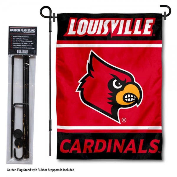 "Louisville Cardinals Garden Flag and Pole Stand Holder kit includes our 13""x18"" garden banner which is made of 2 ply poly with liner and has screen printed licensed logos. Also, a 40""x17"" inch garden flag stand is included so your Louisville Cardinals Garden Flag and Pole Stand Holder is ready to be displayed with no tools needed for setup. Fast Overnight Shipping is offered and the flag is Officially Licensed and Approved by the selected team."