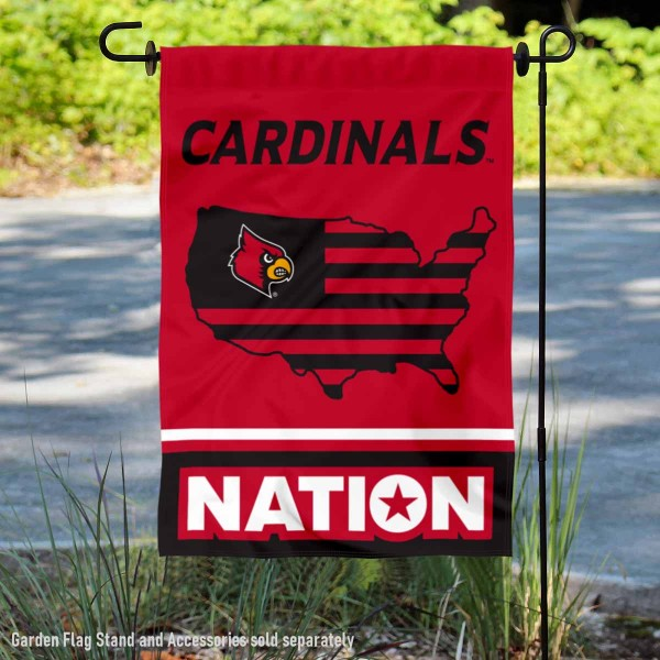 Louisville Cardinals Garden Flag with USA Country Stars and Stripes is 13x18 inches in size, is made of 2-layer polyester, screen printed logos and lettering. Available with Same Day Express Shipping, Our Nation Yard Flag is officially licensed and approved by the NCAA.
