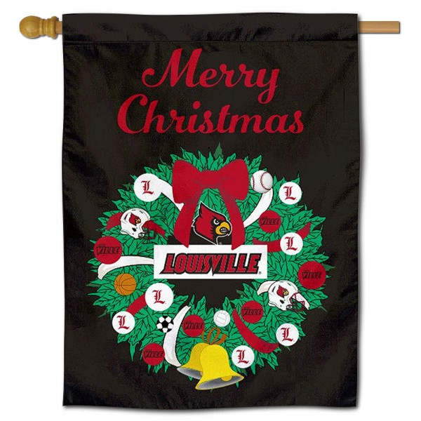 Louisville Cardinals Happy Holidays Banner Flag measures 30x40 inches, is made of poly, has a top hanging sleeve, and offers dye sublimated Louisville Cardinals logos. This Decorative Louisville Cardinals Happy Holidays Banner Flag is officially licensed by the NCAA.