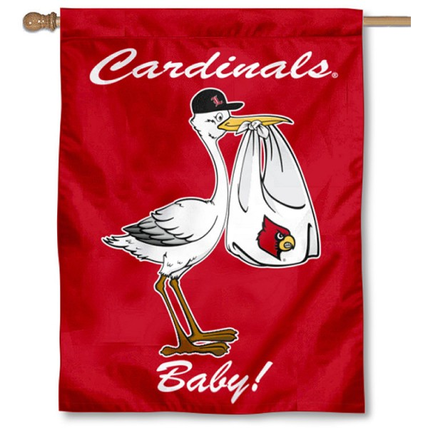 Louisville Cardinals New Baby Flag measures 30x40 inches, is made of poly, has a top hanging sleeve, and offers dye sublimated Louisville Cardinals logos. This Decorative Louisville Cardinals New Baby House Flag is officially licensed by the NCAA.