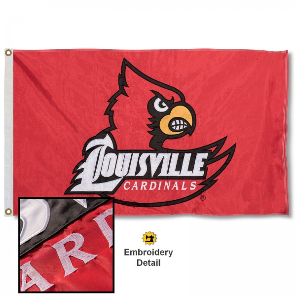 Louisville Cardinals Nylon Embroidered Flag measures 3'x5', is made of 100% nylon, has quadruple flyends, two metal grommets, and has double sided appliqued and embroidered University logos. These Louisville Cardinals 3x5 Flags are officially licensed by the selected university and the NCAA.