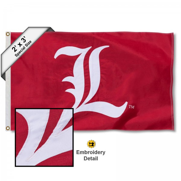 Louisville Cardinals Small 2'x3' Flag measures 2x3 feet, is made of 100% nylon, offers quadruple stitched flyends, has two brass grommets, and offers embroidered Louisville Cardinals logos, letters, and insignias. Our 2x3 foot flag is Officially Licensed by the selected university.
