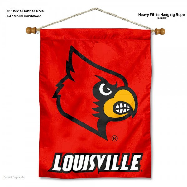 "Louisville Cardinals Wall Banner is constructed of polyester material, measures a large 30""x40"", offers screen printed athletic logos, and includes a sturdy 3/4"" diameter and 36"" wide banner pole and hanging cord. Our Louisville Cardinals Wall Banner is Officially Licensed by the selected college and NCAA."