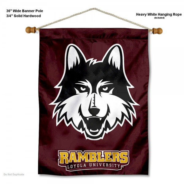 "Loyola Chicago Ramblers Wall Banner is constructed of polyester material, measures a large 30""x40"", offers screen printed athletic logos, and includes a sturdy 3/4"" diameter and 36"" wide banner pole and hanging cord. Our Loyola Chicago Ramblers Wall Banner is Officially Licensed by the selected college and NCAA."