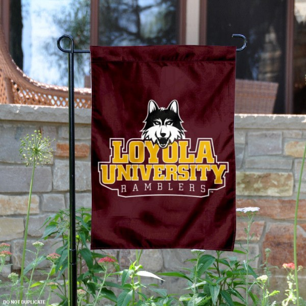 Loyola Chicago University Garden Flag is 13x18 inches in size, is made of 2-layer polyester, screen printed Loyola Chicago University athletic logos and lettering. Available with Same Day Express Shipping, Our Loyola Chicago University Garden Flag is officially licensed and approved by Loyola Chicago University and the NCAA.
