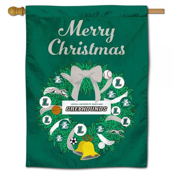 Loyola Greyhounds Happy Holidays Banner Flag measures 30x40 inches, is made of poly, has a top hanging sleeve, and offers dye sublimated Loyola Greyhounds logos. This Decorative Loyola Greyhounds Happy Holidays Banner Flag is officially licensed by the NCAA.