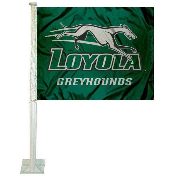 Loyola Greyhounds Logo Car Flag measures 12x15 inches, is constructed of sturdy 2 ply polyester, and has screen printed school logos which are readable and viewable correctly on both sides. Loyola Greyhounds Logo Car Flag is officially licensed by the NCAA and selected university.