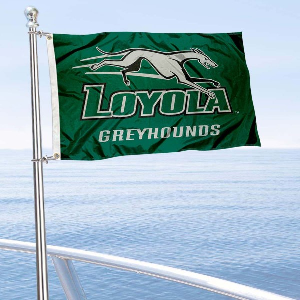 Loyola Maryland Greyhounds Boat and Mini Flag is 12x18 inches, polyester, offers quadruple stitched flyends for durability, has two metal grommets, and is double sided. Our mini flags for Loyola University Maryland are licensed by the university and NCAA and can be used as a boat flag, motorcycle flag, golf cart flag, or ATV flag.
