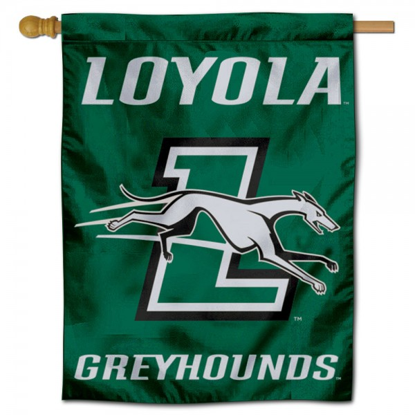 Loyola Maryland Greyhounds Double Sided House Flag is a vertical house flag which measures 30x40 inches, is made of 2 ply 100% polyester, offers screen printed NCAA team insignias, and has a top pole sleeve to hang vertically. Our Loyola Maryland Greyhounds Double Sided House Flag is officially licensed by the selected university and the NCAA.