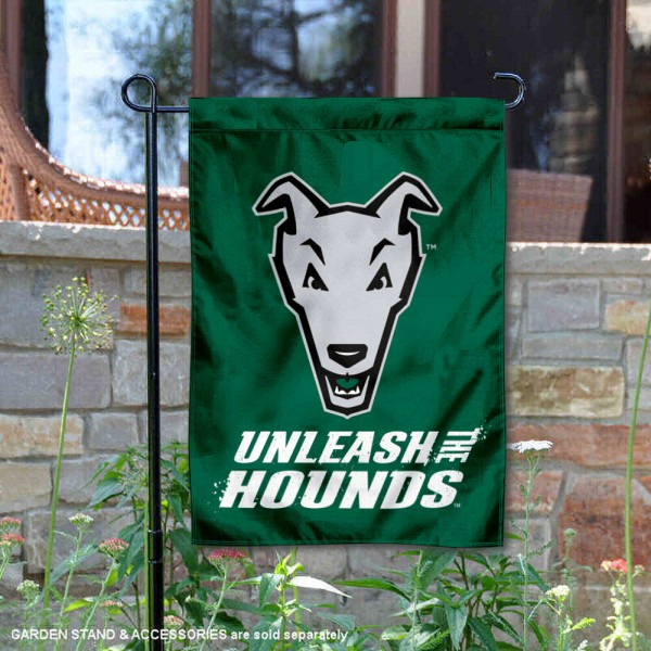 Loyola Maryland Greyhounds Unleash the Hounds Garden Flag is 13x18 inches in size, is made of 2-layer polyester, screen printed university athletic logos and lettering, and is readable and viewable correctly on both sides. Available same day shipping, our Loyola Maryland Greyhounds Unleash the Hounds Garden Flag is officially licensed and approved by the university and the NCAA.