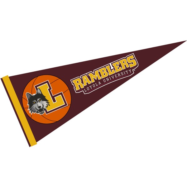 Loyola Ramblers Basketball Pennant consists of our full size sports pennant which measures 12x30 inches, is constructed of felt, is single sided imprinted, and offers a pennant sleeve for insertion of a pennant stick, if desired. This Loyola Ramblers Pennant Decorations is Officially Licensed by the selected university and the NCAA.