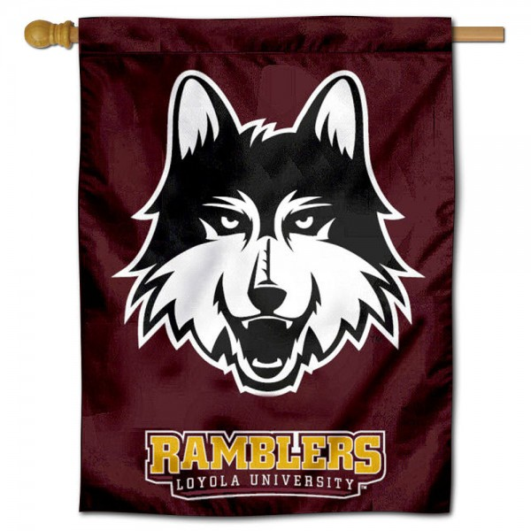 "Loyola Ramblers House Flag is constructed of polyester material, is a vertical house flag, measures 30""x40"", offers screen printed athletic insignias, and has a top pole sleeve to hang vertically. Our Loyola Ramblers House Flag is Officially Licensed by Loyola Ramblers and NCAA."