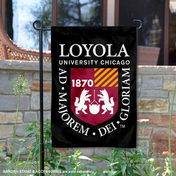 Loyola University Chicago Academic Logo Garden Flag is 13x18 inches in size, is made of 2-layer polyester, screen printed university athletic logos and lettering, and is readable and viewable correctly on both sides. Available same day shipping, our Loyola University Chicago Academic Logo Garden Flag is officially licensed and approved by the university and the NCAA.
