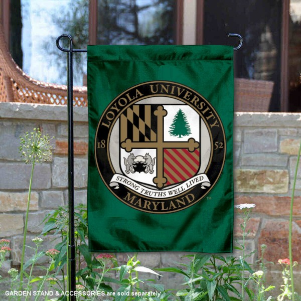 Loyola University Maryland Academic Logo Garden Flag is 13x18 inches in size, is made of 2-layer polyester, screen printed university athletic logos and lettering, and is readable and viewable correctly on both sides. Available same day shipping, our Loyola University Maryland Academic Logo Garden Flag is officially licensed and approved by the university and the NCAA.