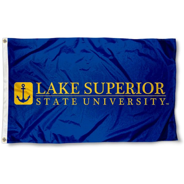 LSSU Lakers Wordmark Logo Flag measures 3x5 feet, is made of 100% polyester, offers quadruple stitched flyends, has two metal grommets, and offers screen printed NCAA team logos and insignias. Our LSSU Lakers Wordmark Logo Flag is officially licensed by the selected university and NCAA.