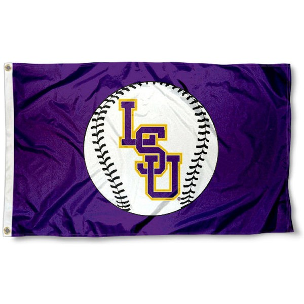 LSU Baseball Flag measures 3'x5', is made of 100% poly, has quadruple stitched sewing, two metal grommets, and has double sided Team University logos. Our LSU Baseball Flag is officially licensed by the selected university and the NCAA.